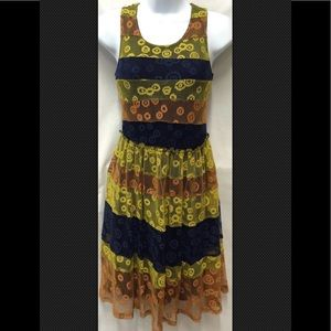 MYSTREE NWT Mesh Lace Lined Sundress Striped